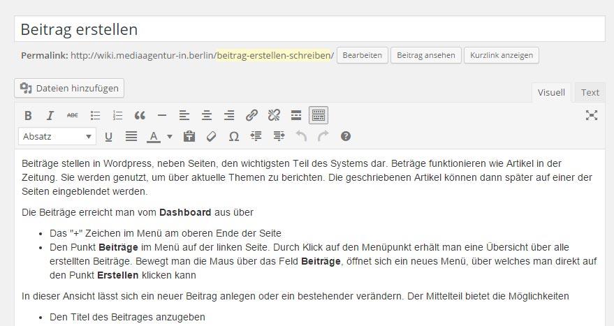 Wordpress Beiträge_Mittelteil
