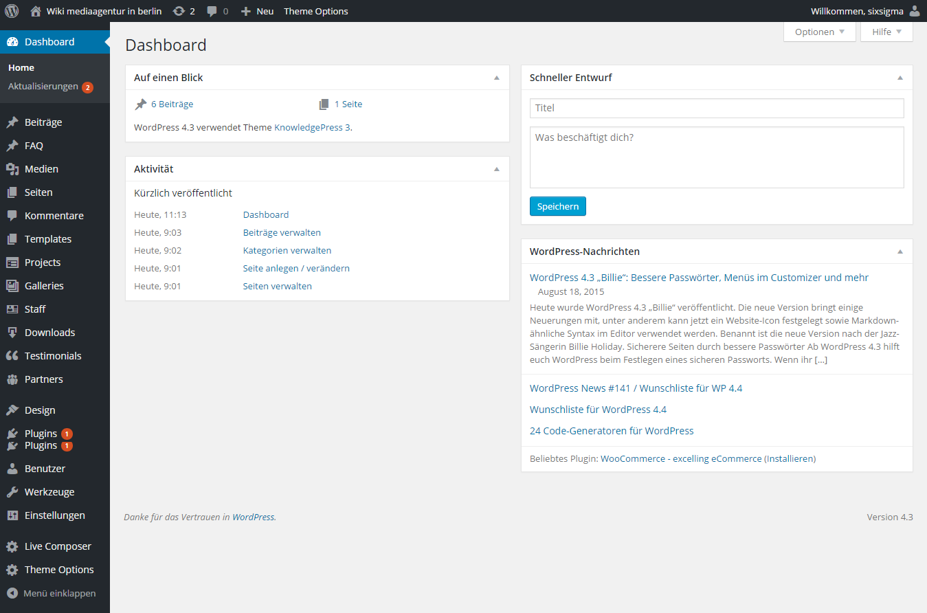 Wordpress Dashboard Gesamtansicht