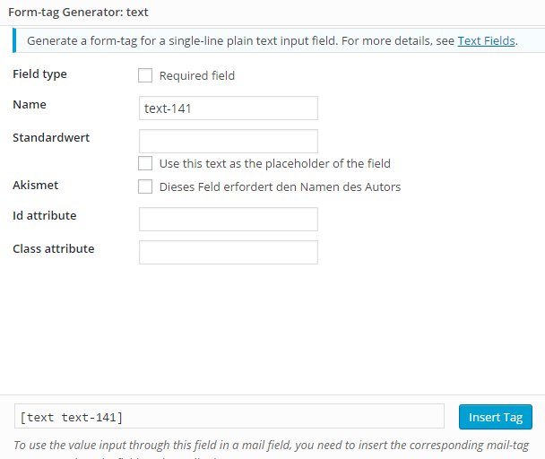 Wordpress Contact Form 7 Formular Feld